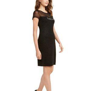 Bebe Illusion Rhinestone-Logo Dress